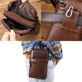 Men's Genuine Leather Mini Multifunctional Messenger 7 Inch Phone Bag Waist Bag Crossbody Bag