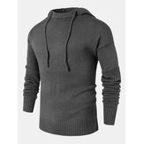 Mens Solid Color Design Cut Out Sleeve Kitted Hooded Sweaters