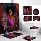 3D-Druck Duschvorhangset für Afrikanerinnen mit rutschfestem Teppich Toilettendeckelabdeckung Badematte für Badezimmerdekor