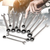 12Pcs 6-19mm Ratchet Wrench Set Ratcheting Spanner Car Repair Tool DIY Open Ring