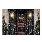 Pano de fundo de janela de loja de árvore de Natal para fotografia de porta de neve para estúdio suporte de fundo de foto