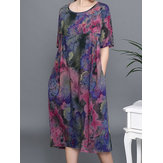 Plus Size Floral Print Short Sleeve Elegant Dress