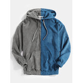 Mens Corduroy Contrasting Color Patchwork Pocket Casual Drawstring Hoodies