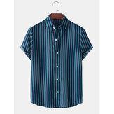 Chemises à manches courtes décontractées à rayures verticales pour hommes