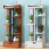 4つの層の植物の立場の植木鉢の貯蔵の棚の屋外の屋内庭の棚の装飾の陳列台の引出しが付いている本だな