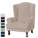 Elastic Velvet Wingback Chair Cover Stretch Sofa Seat Protector Pure Color Elastic Seat Slipcover for Home Office