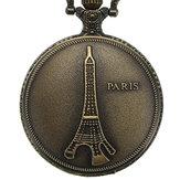 DEFFRUN Vintage Menara Eiffel Pola PARIS Rantai Jam Saku Retro