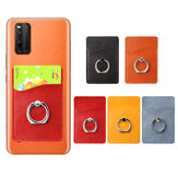 Universal 2 in 1 3M Adhesive Sticker PU Leather Mobile Phone Holder Ring Stand with Card Slot for All Smartphone Xiaomi Poco F2 Pro Redmi Note 9S