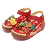 Sandali estivi da donna Zeppe con plateau Scarpe con cinturino alla caviglia con fiori fatti a mano Scarpe da passeggio antiscivolo vintage