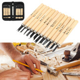 12Pcs Wood Carving Hand Chisel Tool Set Wood Working Professional Gouges + Case
