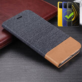 Bakeey for POCO M3 Case Canvas Pattern Flip with Card Holder Stand Shockproof PU Leather Full Cover Protective Case