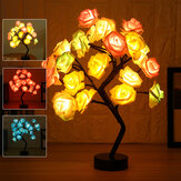 LED Table Lamp Rose Flower Tree USB Night Lights Wedding Bedroom Decor