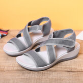 LOSTISY Cloth Opened Toe Cross Strap Casual Sport Sandals