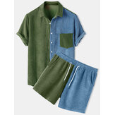 Mens Corduroy Patchwork Loose Pocket Elastic Waist Breathable Shirt & Shorts
