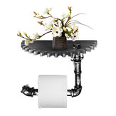Industrial Urban Rustic Iron Pipe Toilet Paper Roller Holder Phone Shelf Storage