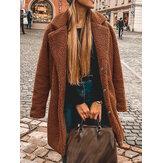 Manteau décontracté chaud de couleur unie mi-longue à revers en polaire épaisse pour femmes