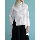 Causal Solid Button High Low Hem Long Sleeves Blouse