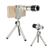 12X Zoom 80° Angle Optical Telephoto Telescope Lens with Aluminum Tripod Mount Holder for Smartphone Camera