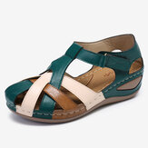 LOSTISY Mujer Recorte Color Block Correa ajustable Casual Summer Wedge Sandalias