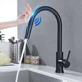 Matte Black Stainless Steel Kitchen Sink Faucets Mixer Smart Touch Sensor Pull Out Hot Cold Water Mixer Tap Crane