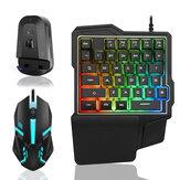 Kablolu Tek elle Mekanik Klavye ve Mouse ve bluetooth Adaptör Seti 39 Tuşlar Aydınlık Oyun Klavye 2000DPI Mouse PUBG için USB Hub