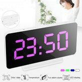 Silencioso Reloj Dormir junto a la cama LED Alarma Reloj Espejo de pantalla grande Noche Digital Reloj