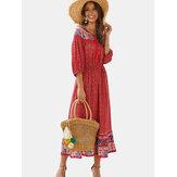 Богемный цветочный принт с длинными рукавами лето макси Платье