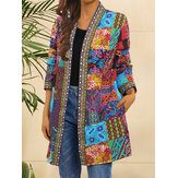 Dames tribal print coloblock halflange etnische stijl open voorkant met zak