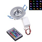 Dimmable AC85-265V 3W LED RGB Colorful Ceiling Light Down Lamp dengan Remote Control
