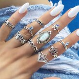 10 Pieces Retro Style Carved Gemstone Ring Set