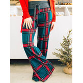 Women Plaid Print Casual Loose High Waist Wide Leg Pants