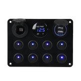Painel de comutação 8 Gang 12V 11x15cm para caravana RV Yacht Azul LED USB + monitor duplo