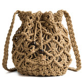 Women Hollow Woven Crossbody Bag Straw Bag
