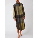 Erkek Pamuklu Ekose Baskı Henley Gömlek Ev Pijama Cepli Uzun Kollu Elbiseler