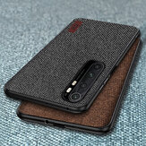 Bakeey Luxury Canvas Fabric Splice Soft Silicone Edge Shockproof Protective Case for Xiaomi Mi Note 10 Lite Non-original