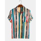 Men Cotton Colorful Stripe Dot Mined Print Short Sleeve Holiday Casual Shirt