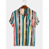 Erkekler Pamuk Colorful Çizgili Dot Mined Baskı Kısa Kollu Tatil Rahat Gömlek