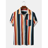 Mens Colorful Listrado Turn Down Collar Camisas de manga curta