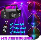 9-EYE LED Stage Light RGB DMX Scan Projector Laser Strobe DJ Lampe avec télécommande pour Performance KTV
