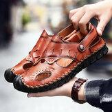 Homens Couro Genuíno Costura à mão escavar sandálias Soft casuais
