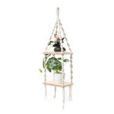 2 Tiers Wooden Wall Hanging Shelf Bohemian Handmade Macrame Wall Rope Rustic Shelves Floating Plant Rack Home Office Decorations