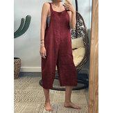 Correa de bolsillos laterales sin mangas de color sólido Mujer de pierna ancha Mono