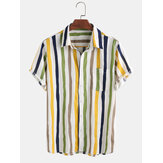 Mens New Fashion Turn Down Collar Colorful Striped Short Sleeve Shirts