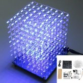 Versione aggiornata 3D Light Cube Kit 8x8x8 blu LED MP3 Music Spectrum Kit elettronico fai da te con amplificatore 3W + altoparlante 3W