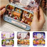 3DDIYドールハウスミニチュアキッズおもちゃマニュアルアセンブリドールハウス小屋子供のためのブリキの箱クリスマスギフト