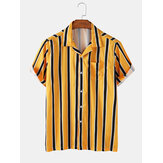 Banggood Special Offers Striped Revere Collar Short Sleeve Shirts