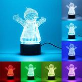 3Dクリスマスの雪だるまナイトライト7色LEDアートデスクのテーブルランプを変えるおもちゃのギフト