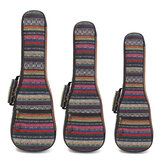 21 23 26 Inch Double Strap Hand Folk Canvas Ukulele Case Soft Padded Carry Protect Backpack Cover Gig Bag