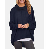 Women Solid Color Long Sleeve High-lowHem Pullover Sweatshirts