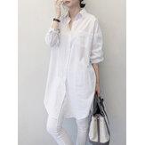 Camisas de manga larga sueltas con bolsillo en el pecho con solapa de color puro para mujer
